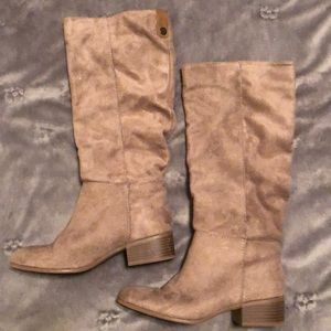 Faux suede taupe mid calf boots